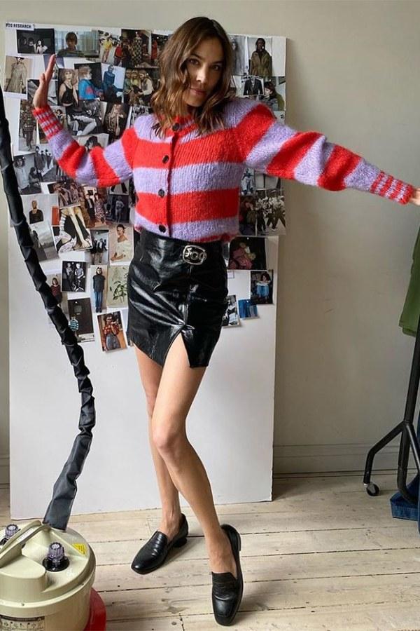 Image 5 of Alexa Chung striped cropped cardigan
