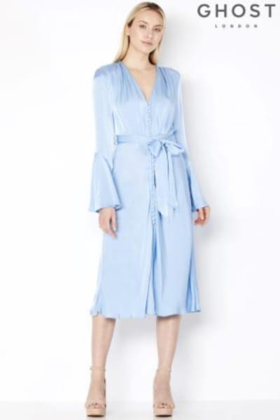 Ghost Blue Satin Dress 2