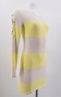 Melissa Odabash Yellow Maddie Striped-knit Mini Dress Preview Images