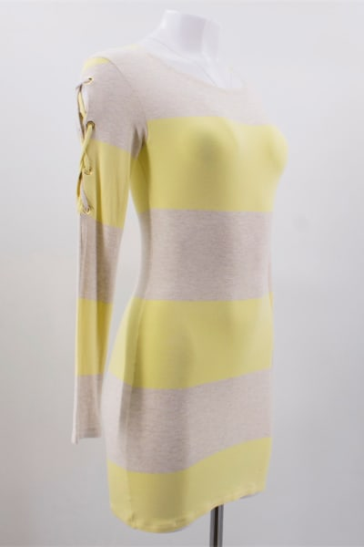 Melissa Odabash Yellow Maddie Striped-knit Mini Dress
