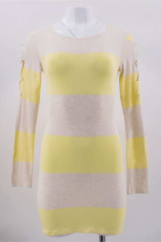 Melissa Odabash Yellow Maddie Striped-knit Mini Dress 2 Preview Images