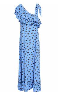 Ganni Roseburg one-shoulder floral-print washed-crepe maxi dress Preview Images