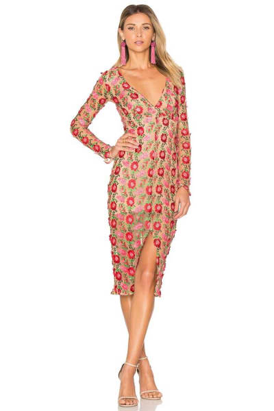 For Love and Lemons Amelia Textured Midi Dress