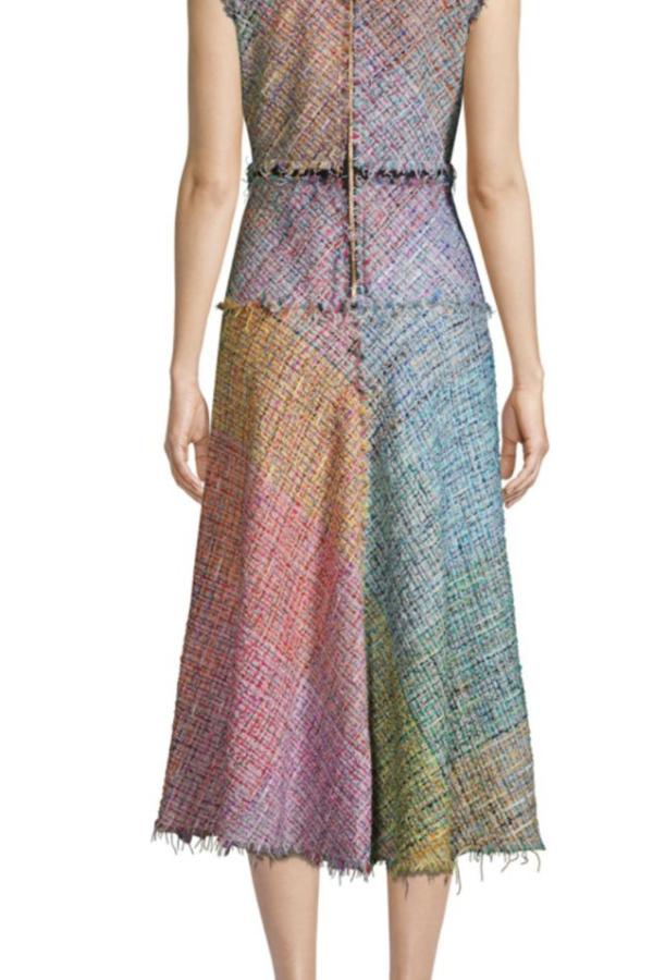 Escada Dalira Multicolor Tweed Midi Dress