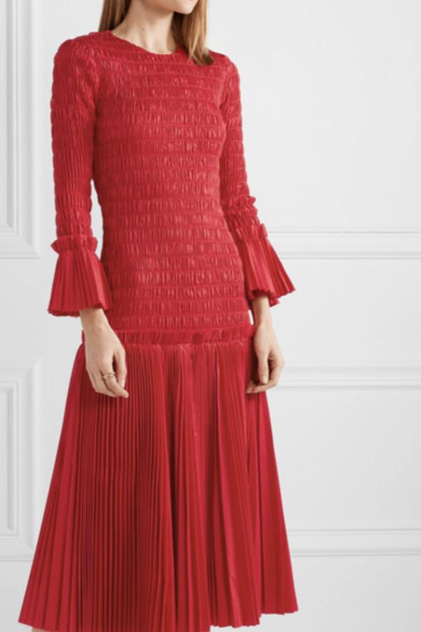 Khaite Pleated cotton-poplin dress 3