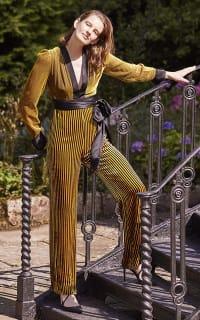 Diane von Furstenberg Satin-trimmed striped devoré-velvet jumpsuit 4 Preview Images