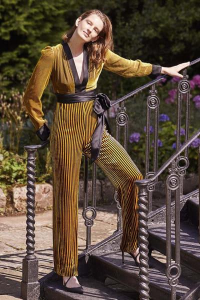 Diane von Furstenberg Satin-trimmed striped devoré-velvet jumpsuit 4