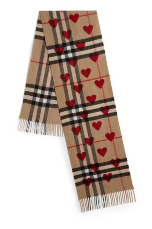 Burberry Cashmere Scarf In Check And Hearts Parade Red