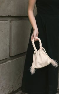 Isabelle Fox Greta silk and feather bag 2 Preview Images