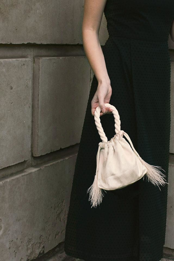 Isabelle Fox Greta silk and feather bag 2