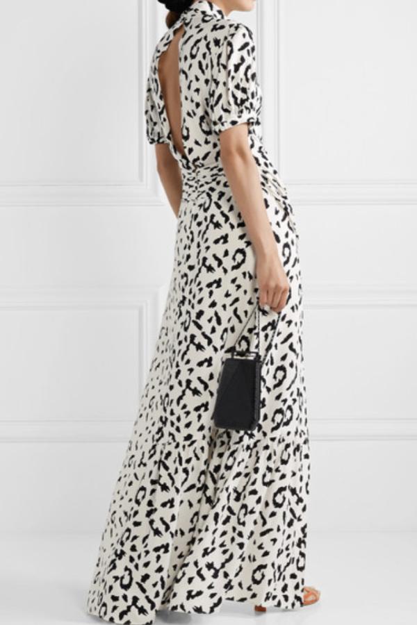Self Portrait Open-back ruched leopard dress 2
