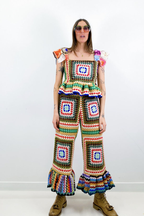 Image 2 of Magpie Vintage granny crochet trousers