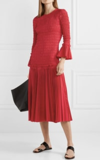 Khaite Pleated cotton-poplin dress 2 Preview Images