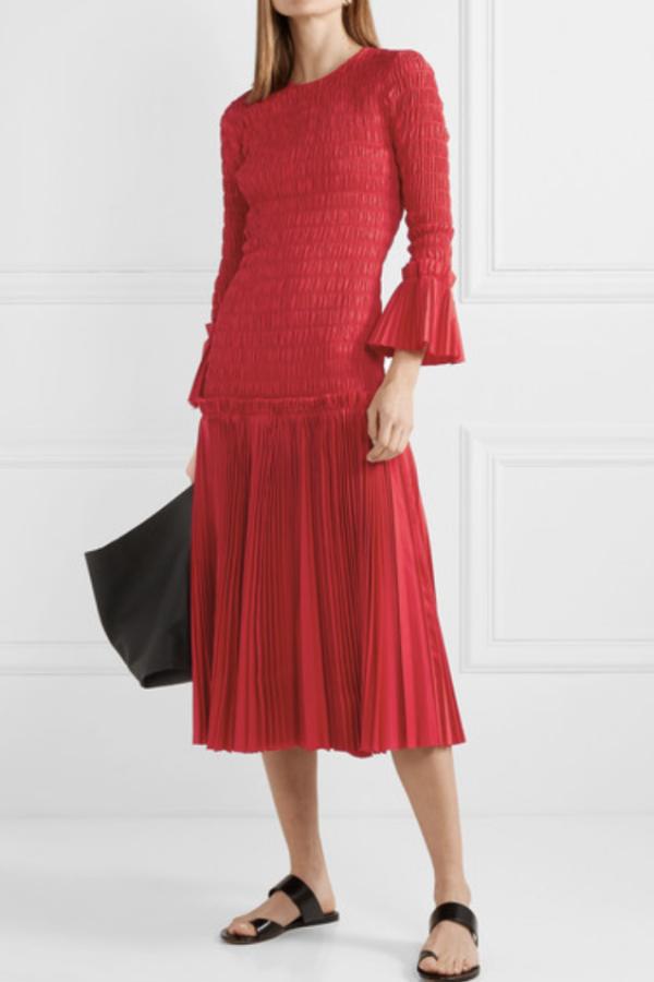 Khaite Pleated cotton-poplin dress 2