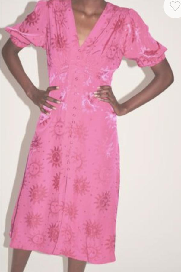 Kitri Pink floral satin midi dress 1 Preview Images