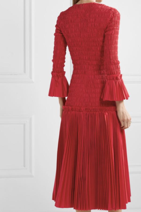 Khaite Pleated cotton-poplin dress 4
