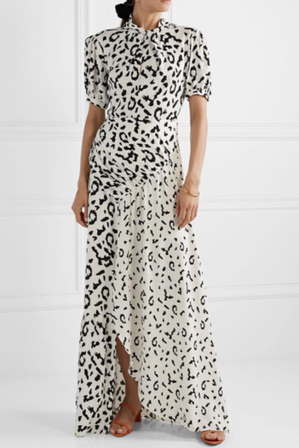 Self Portrait Open-back ruched leopard dress 3