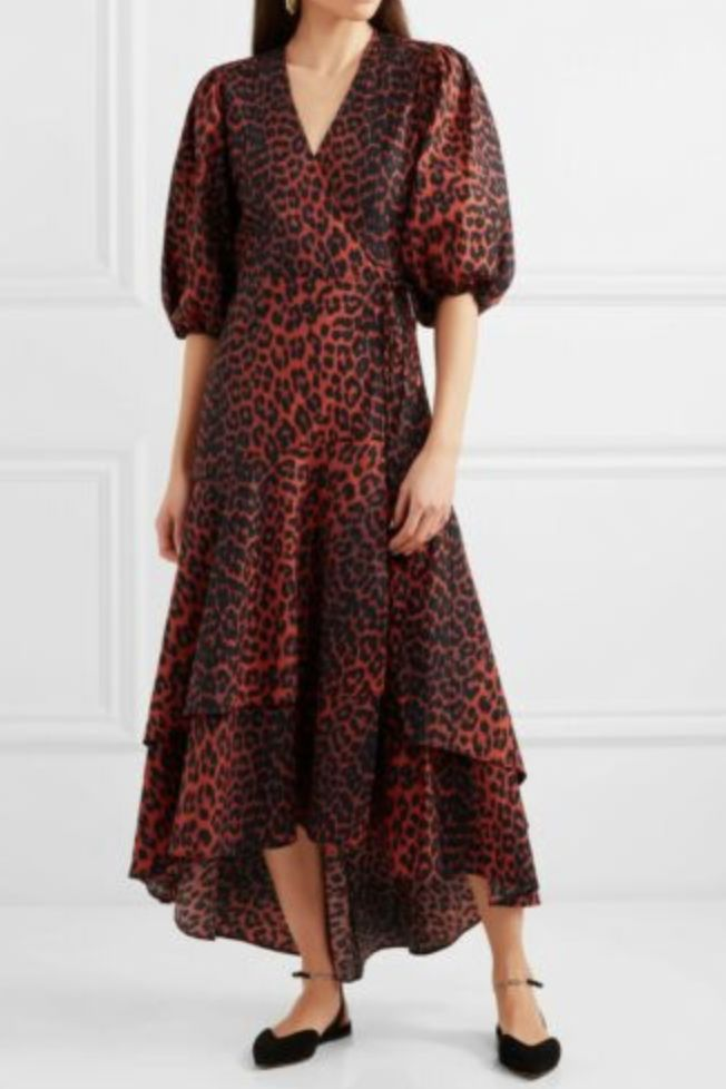 Ganni Red Leopard Midi Dress 2 Preview Images