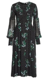 Ganni Rometty Floral Print Georgette Smocked Midi Dress Preview Images