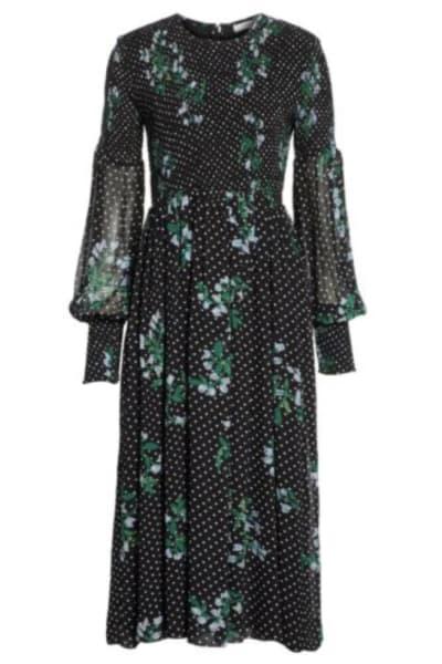 Ganni Rometty Floral Print Georgette Smocked Midi Dress