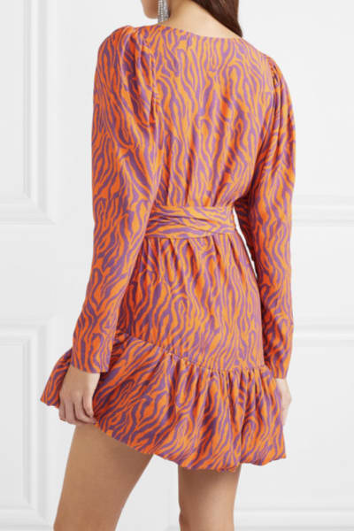 Rotate Birger Christensen Zebra Print Twill Dress 3