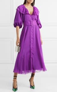 Rotate Purple Ruffle Belted Dress 2 Preview Images