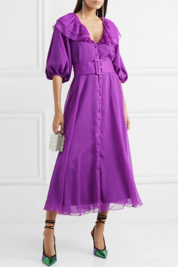 Rotate Purple Ruffle Belted Dress 2