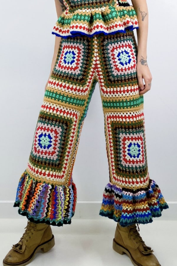 Image 5 of Magpie Vintage granny crochet trousers