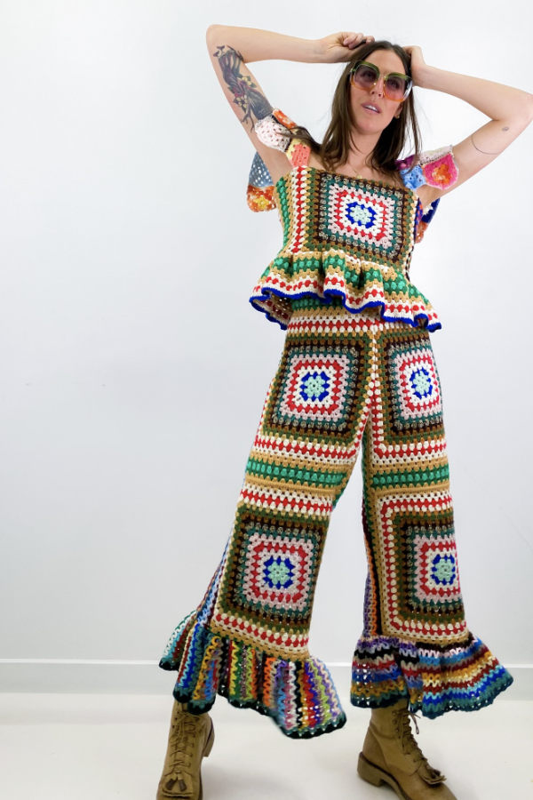 Image 3 of Magpie Vintage granny crochet trousers