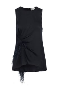 3.1 Phillip Lim Feather-trimmed studded silk crepe de chine top Preview Images