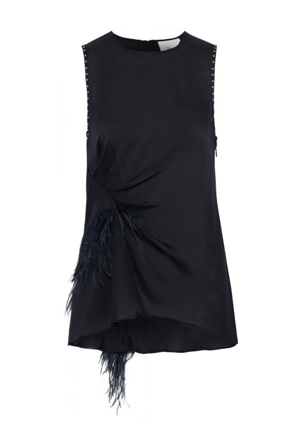 3.1 Phillip Lim Feather-trimmed studded silk crepe de chine top