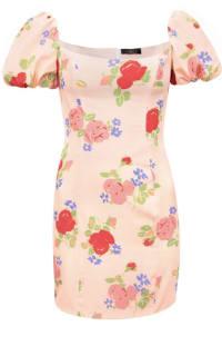 De La Vali Rose Print Mini Dress Preview Images