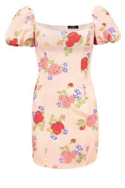 De La Vali Rose Print Mini Dress