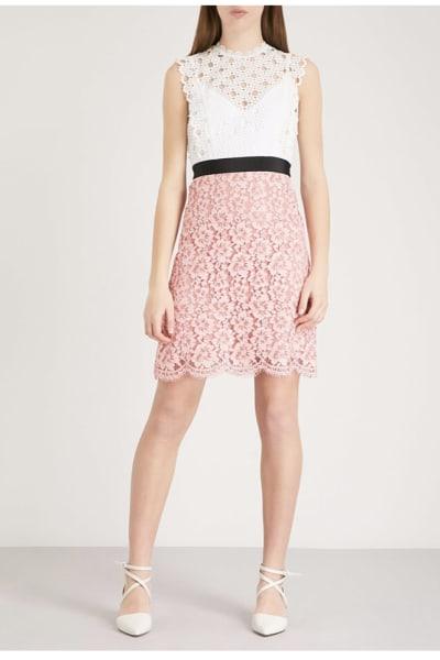 Sandro Cutout Sleeveless Embroidered Mini Pink White Dress 4