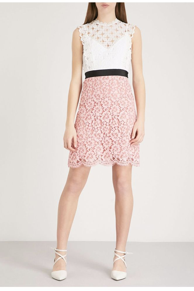 Sandro Cutout Sleeveless Embroidered Mini Pink White Dress 4 Preview Images