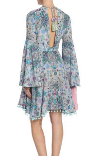 Matthew Williamson Gray Lace-up Pompom-trimmed Printed Silk Crepe De Chine Dress 3 Preview Images
