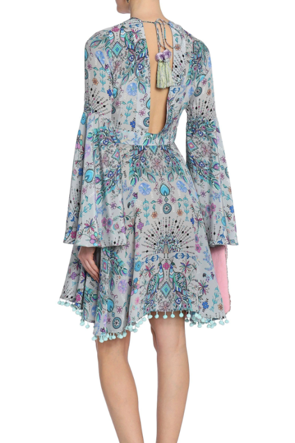 Matthew Williamson Gray Lace-up Pompom-trimmed Printed Silk Crepe De Chine Dress 3