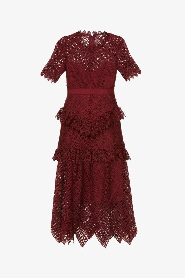 Image 1 of Self Portrait scalloped-lace midi dress