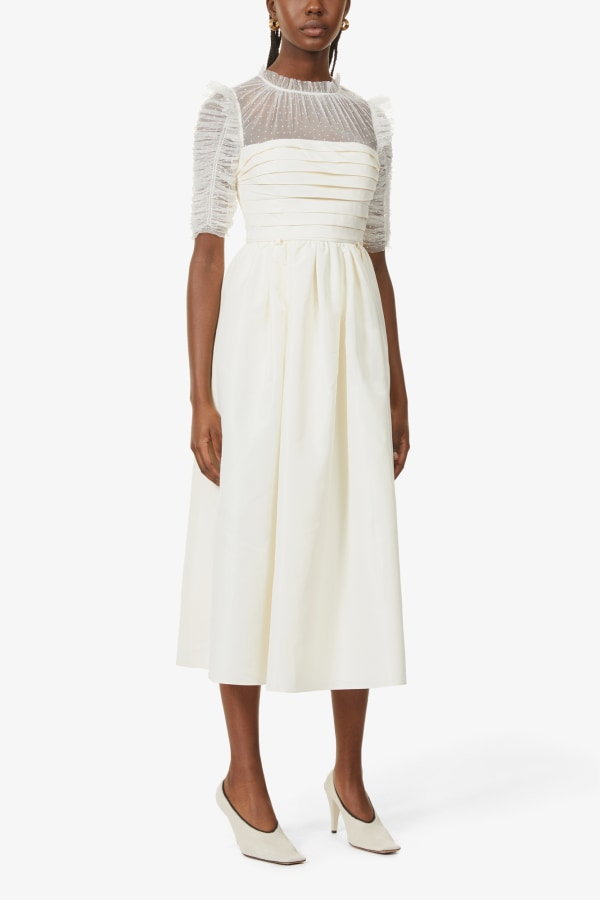 Image 5 of Self Portrait pleated lace and woven midi dress