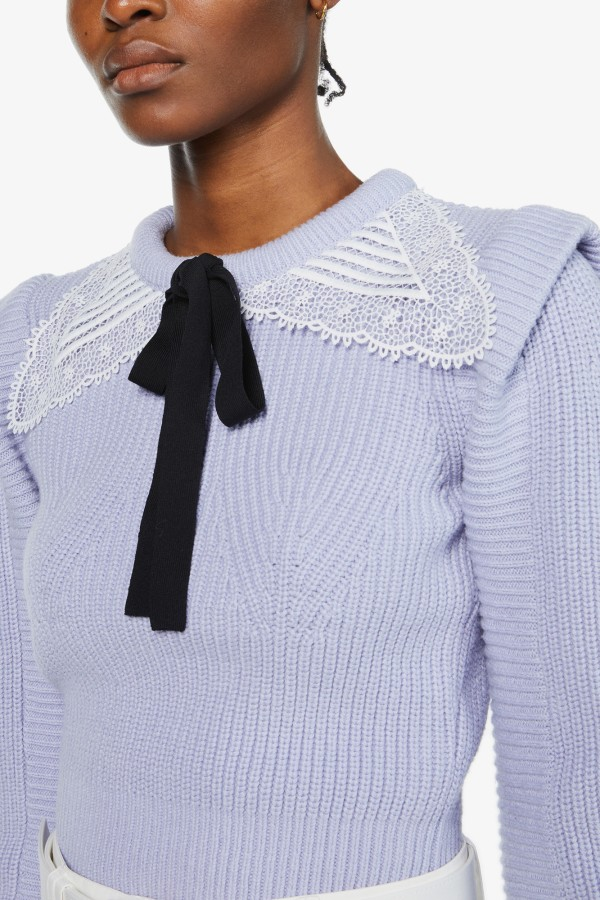 Image 4 of Self Portrait embroidered collar-embellished cotton and wool-blend jumper