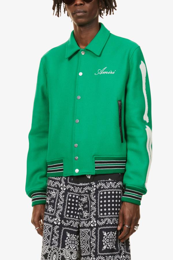 Image 3 of Amiri bones-embellished woven bomber jacket