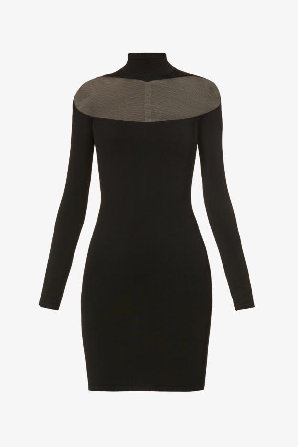 Image 1 of Mugler sheer-panel stretch-woven mini dress