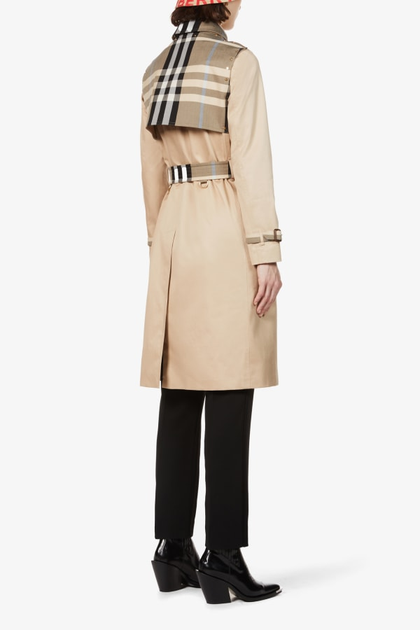 Image 4 of Burberry checked-panel cotton trench coat