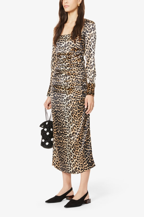 Image 2 of Ganni leopard-print ruched stretch-silk midi dress