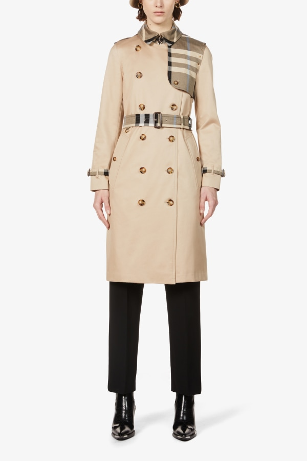 Image 3 of Burberry checked-panel cotton trench coat
