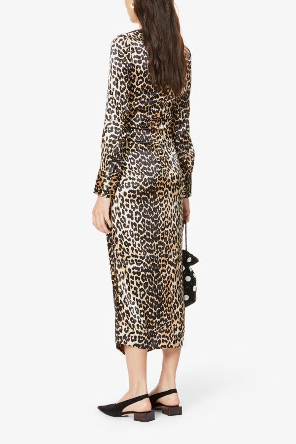 Image 3 of Ganni leopard-print ruched stretch-silk midi dress