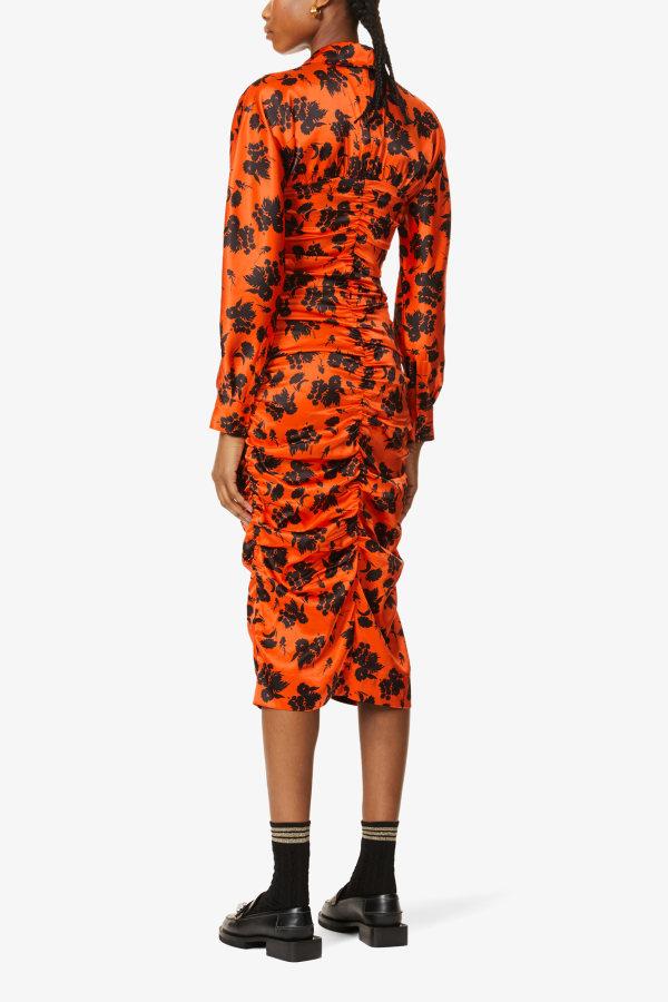Image 3 of Ganni floral-print ruched silk-satin midi dress