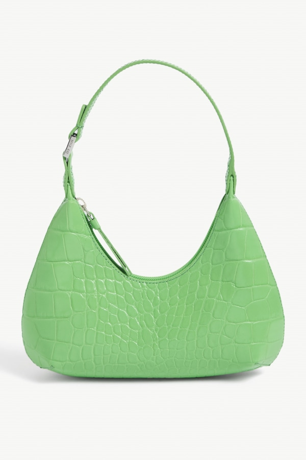 Image 1 of By Far baby amber croc-embossed leather shoulder bag