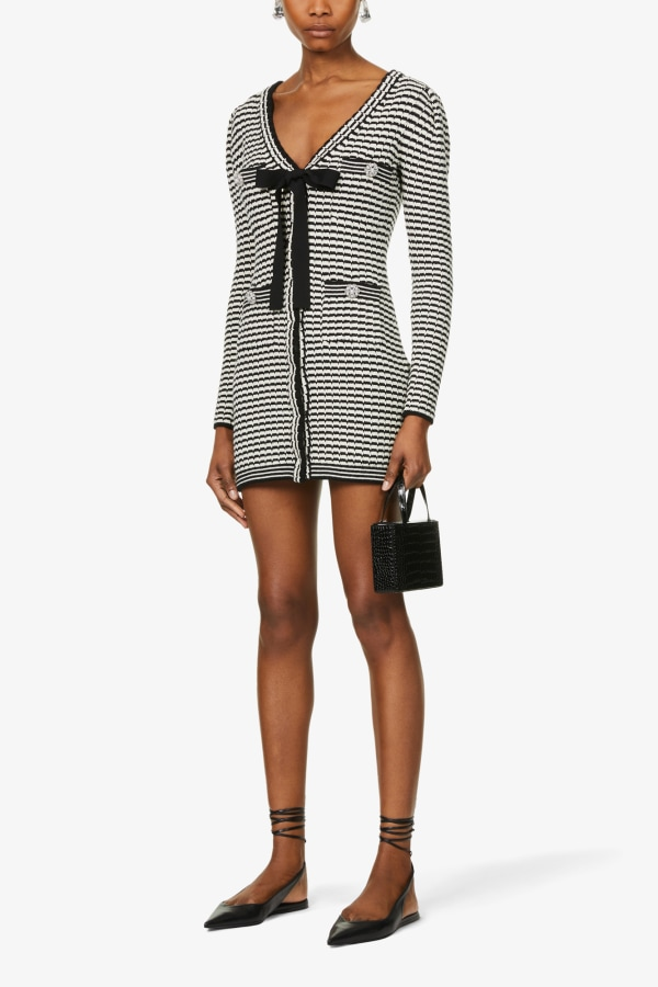 Image 3 of Self Portrait stripped button-embellished cotton-blend knitted mini dress