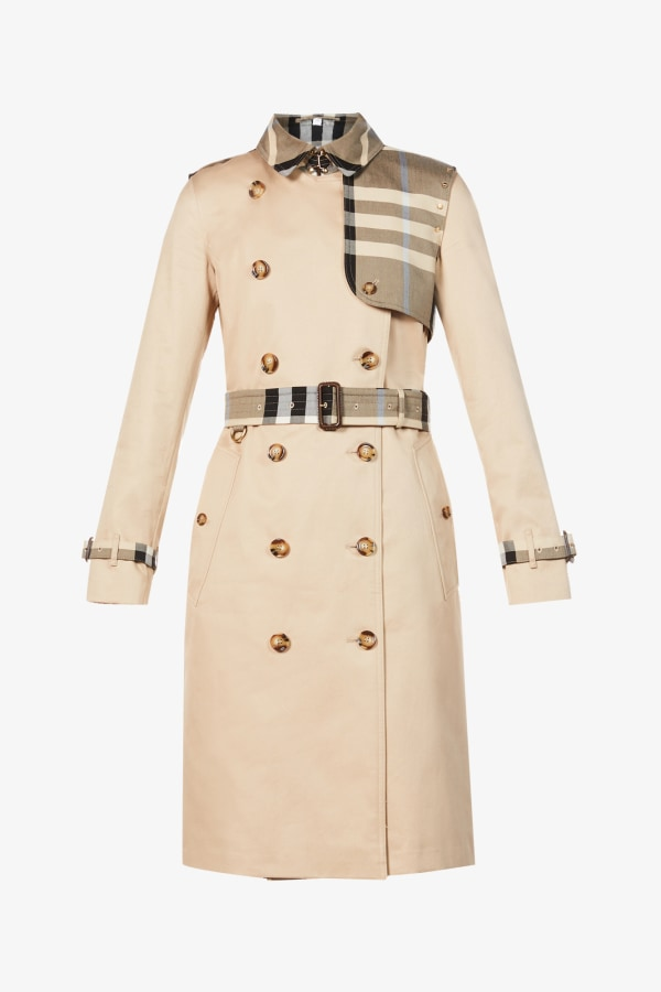 Image 1 of Burberry checked-panel cotton trench coat